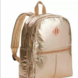 Gold Crinkle style Backpack Laptop Bag Backpack